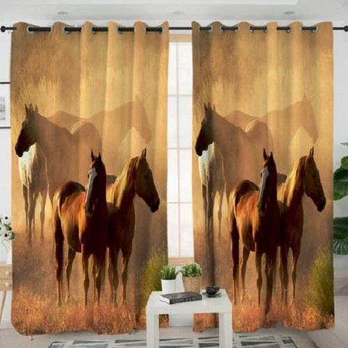 Realistic Horses Living Room Curtain Window Curtain BeddingOutlet W100xH130cm
