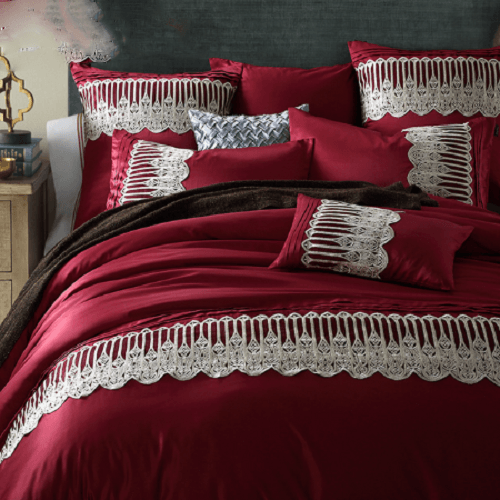 Red Applique Embroidery Bedding Set Embroidered Bed Set Svetanya Single