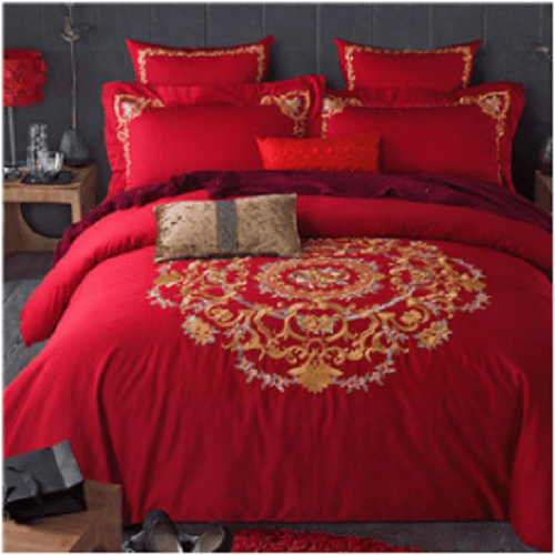 Red Embroidered Cotton Bedding Sets Embroidered Bed Set Svetanya Single