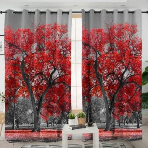 Red Maple Tree Window Curtain Window Curtain BeddingOutlet W100xH130cm