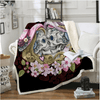 Skull Couples Pink Flowers Throw Blanket Throw Blanket BeddingOutlet 130cmx150cm