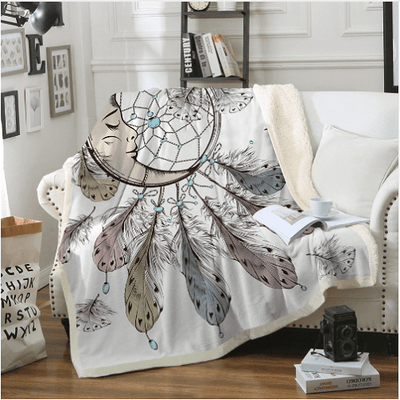 Sleeping Moon Throw Blanket Throw Blanket BeddingOutlet 130cmx150cm