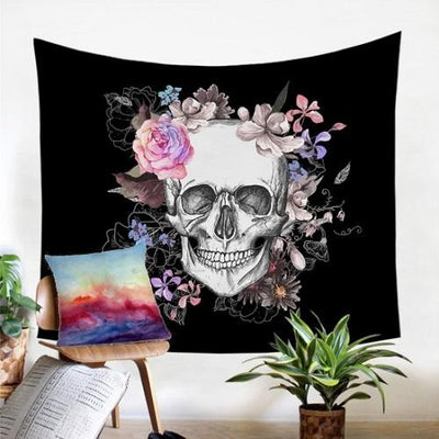 Sugar Skull and Floral Tapestry Tapestry BeddingOutlet 130x150cm