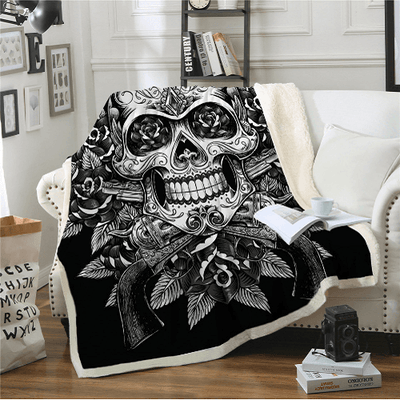 Sugar Skull Velvet Plush Blanket Throw Blanket BeddingOutlet 130cmx150cm