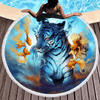Tiger Goldfish Printed Round Beach Towel Beach/Bath Towel BeddingOutlet Diameter 150cm