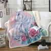 Unicorn and Rose Sherpa Blanket Throw Blanket BeddingOutlet 130cmx150cm