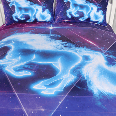 Unicorn Galaxy Stars Bedding Set Bedding Cover Set BeddingOutlet