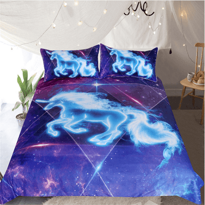 Unicorn Galaxy Stars Bedding Set Bedding Cover Set BeddingOutlet Single