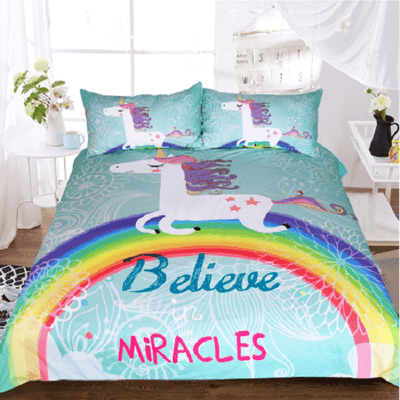 Unicorns Believe Miracles Bedding Set Bedding Cover Set BeddingOutlet Single