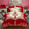 Wedding Red Printed Bedlinen Embroidered Bed Set Svetanya Single