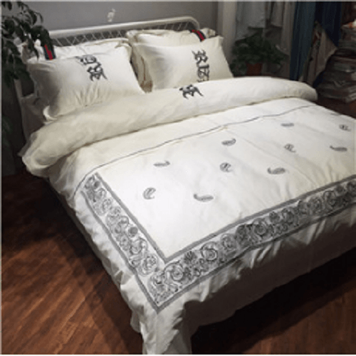 White Embroidered Luxury Bedding Sets Embroidered Bed Set Svetanya Single