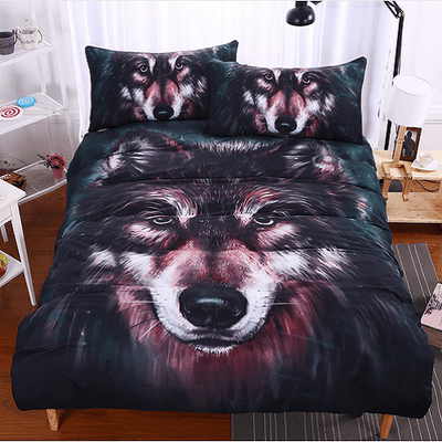 Wolf 3D Painting Bedding Set Bedding covers BeddingOutlet Single