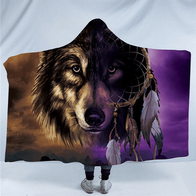 Wolf Collection Hooded Blanket Hooded Blanket BeddingOutlet Kids 127(H)x152(W)