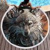 Wolf Warrior Round Beach Towel Beach/Bath Towel BeddingOutlet Diameter 150cm