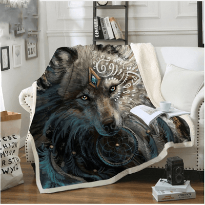 Wolf Warrior Throw Blanket Throw Blanket BeddingOutlet 130cmx150cm
