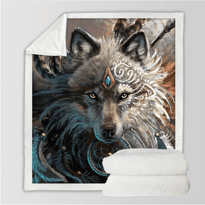 Wolf Warrior Throw Blanket Throw Blanket BeddingOutlet
