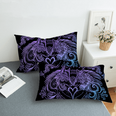 Wolves Heart Feathers Boho Bed Set Bedding Covers BeddingOutlet