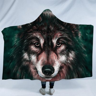 Wolves Painting Hooded Blanket Hooded Blanket BeddingOutlet Kids 127(H)x152(W)