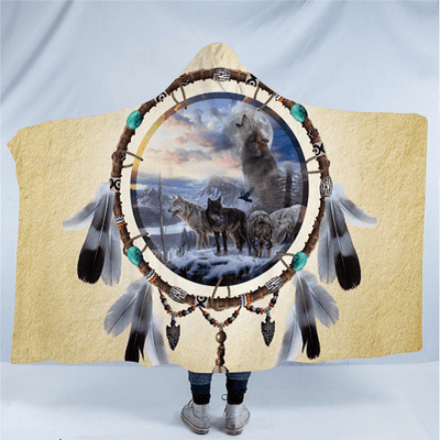 Wolves Tribal Dreamcatcher Hooded Blanket Hooded Blanket BeddingOutlet Kids 127(H)x152(W)