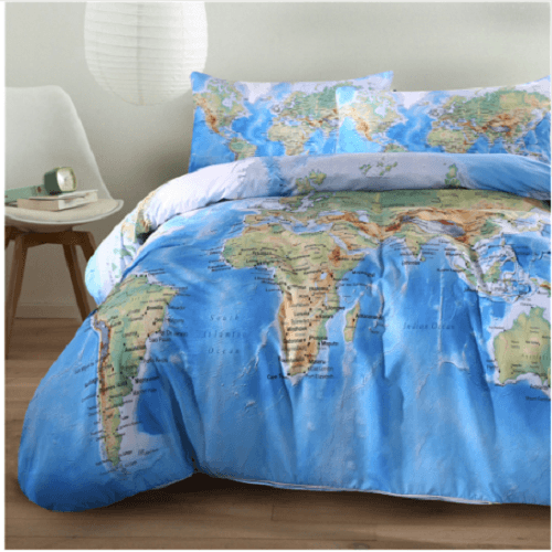 World Map Bedding Set Vivid Printed Bedding covers BeddingOutlet Single