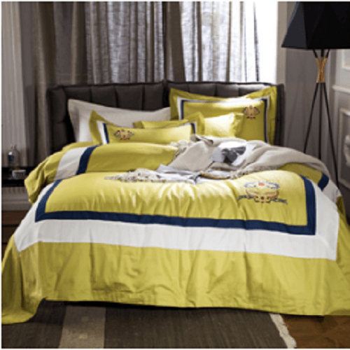 Yellow Embroidered Solid Color Bed Set Embroidered Bed Set Svetanya Single