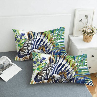 Zebra Duvet Cover Set Watercolor Bedding Set BeddingOutlet