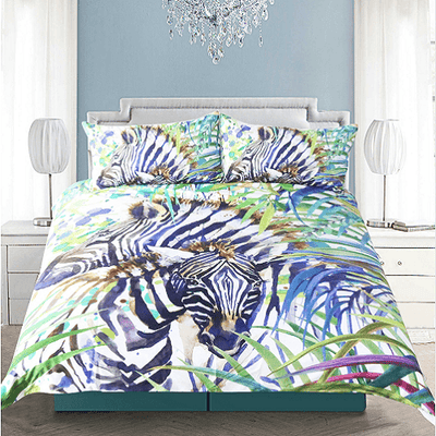 Zebra Duvet Cover Set Watercolor Bedding Set BeddingOutlet Single