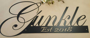 Last Name Established Sign, metal sign, powdercoated, Wedding gift, Anniversary gift, Fancy Letter, Family Room Decor, Photo, Personalised - Speed Fabrication