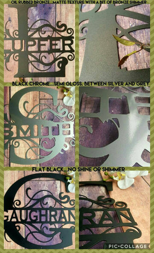 Fancy Letter Name Metal Monogram Sign - Speed Fabrication