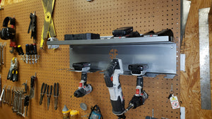 Cordless Drill Driver Organizer Hanging Mount with Battery Charger Tray Tool Organizer with Shelf Cordelss Drill Storage Power Deck