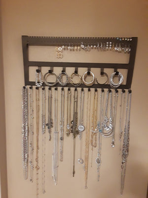 Jewelry Holder for Ear rings, bracelets and necklaces wall mounted