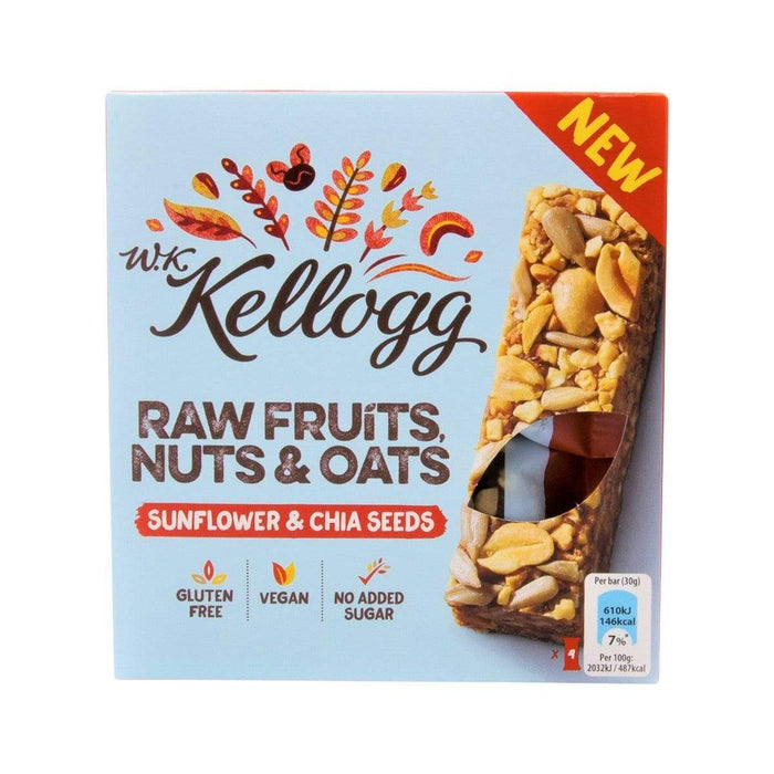 W.K Kellogg 4x Raw Fruits, Nuts & Oats - Sunflower & Chia Seeds Riegel 4x 30g