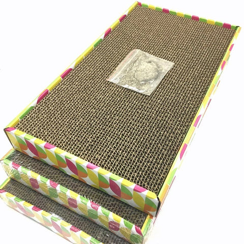 Irispets  3 pack scratcher cardboard cat scratcher cardboard, cat wide scratching pad, cat scratcher toys, Catnip Included,