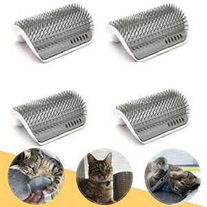 Irispets 4 Pack Corner Wall Groomer Soft Grooming Brush Cat Groom Self Grooming Cat Toy Cat Self Groomer, Massager and Cat Scratcher