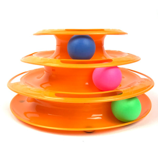 Cat Toys - Three layers tower of tracks with colorful balls, Interactive cat toys for one or multipel cats Color: Orange