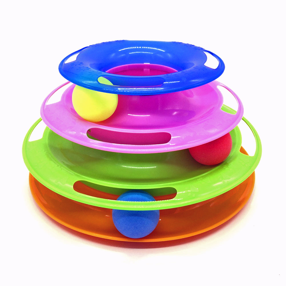 Cat track toy with Colorful Balls Interactive Cat Toy - three Layer track Tower toy for One or Multiple Cats Color: Rainbow