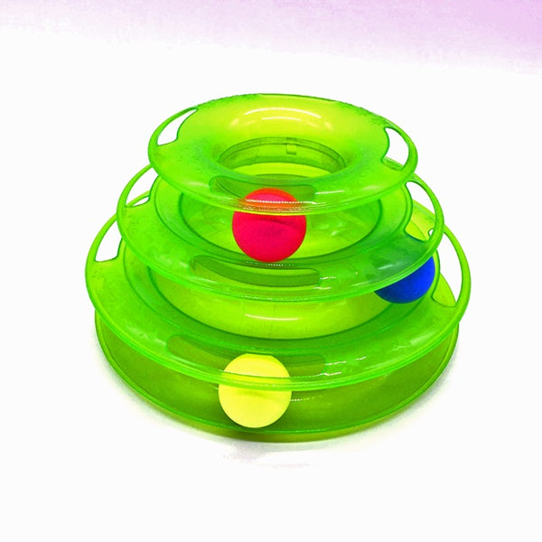 Cat track toy with Colorful Balls Interactive Cat Toy - three Layer track Tower toy for One or Multiple Cats Color:Green