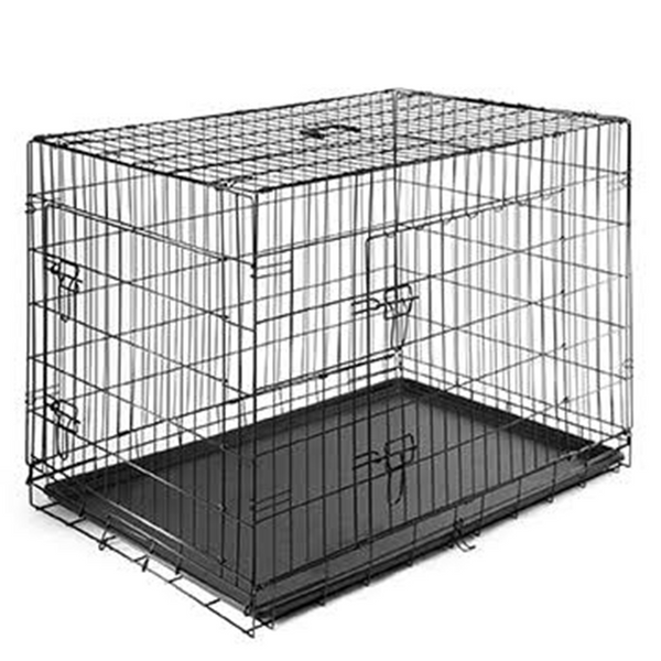 "24"" Dog Crate, Double-Doors Folding Metal w/Tray"