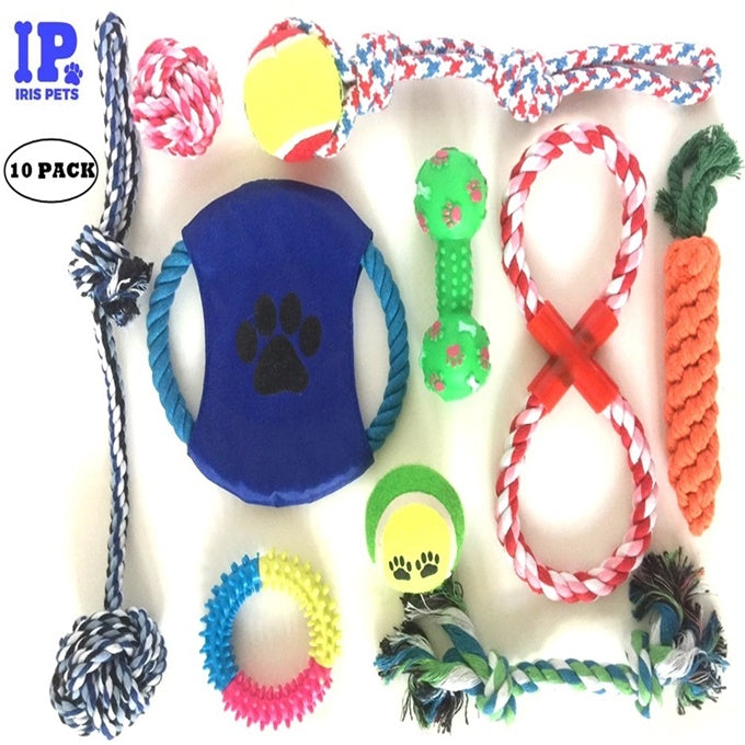 Dog Chew Toys: Fun and Interactive Puppy and Dog Teething Chew Toys Variety set Mix (10 Pack) (Ropes, Balls, Plushies, etc) rope knot dog toy great for Teething(Random Colors)