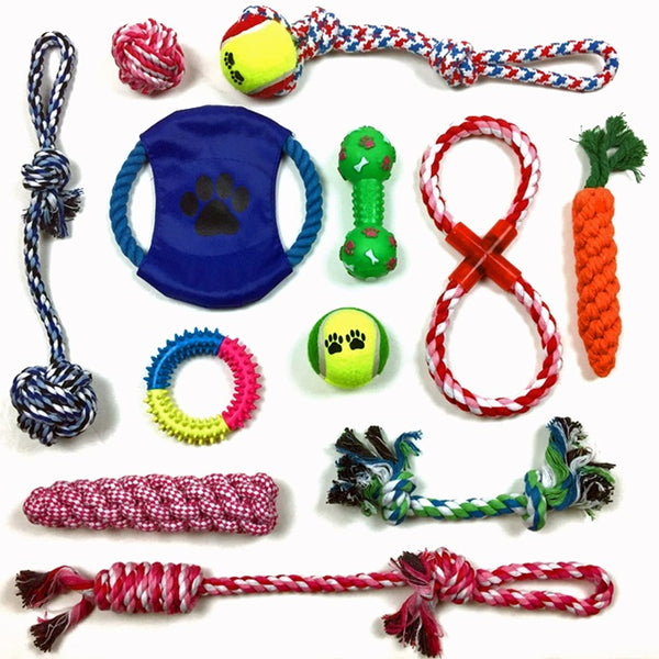 Puppy Teething Chew Toys: Fun and Interactive Puppy and Dog Teething Chew Toys Gift set 12 PACK(Ropes, Balls, Plushies, etc) rope knot dog toy great for Teething(Random Colors)