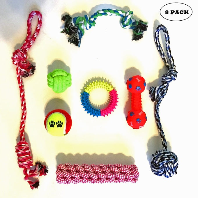 Puppy Teething Chew Toys: Fun and Interactive Puppy and Dog Teething Chew Toys Gift set 8 PACK(Ropes, Balls, Plushies, etc) rope knot dog toy great for Teething(Random Colors)