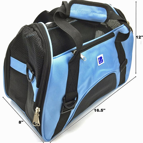 Irispets Airline Approved Soft sided Portable Pet Carriers Size M Color:Blue