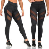 High Waist Sexy Slim Fit Leggings With Patchwork Mesh