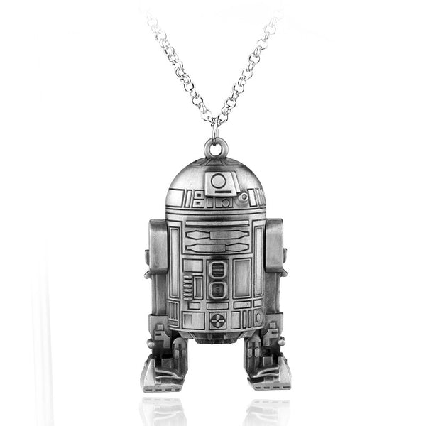 Vintage Silver Plated STAR WARS R2-D2 Metal Necklace