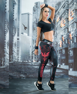 New Red Graphic Design Active Leggings