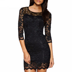Floral Lace Short Evening Dress