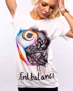 Cotton Graphic Print Short Sleeve T-shirt - Find Balance