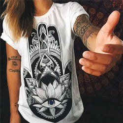 Cotton Graphic Print Short Sleeve T-shirt - Hand