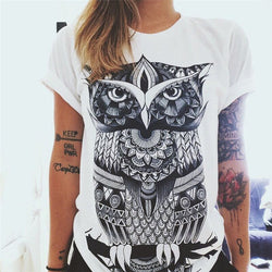 Cotton Graphic Print Short Sleeve T-shirt - OWL