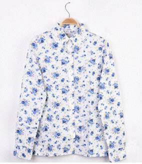 Cotton Blouse Long-sleeve Blue Flower Printed Button Up Shirt
